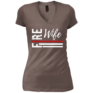 Fire Wife Flag White District Junior's Vintage Wash V-Neck T-Shirt