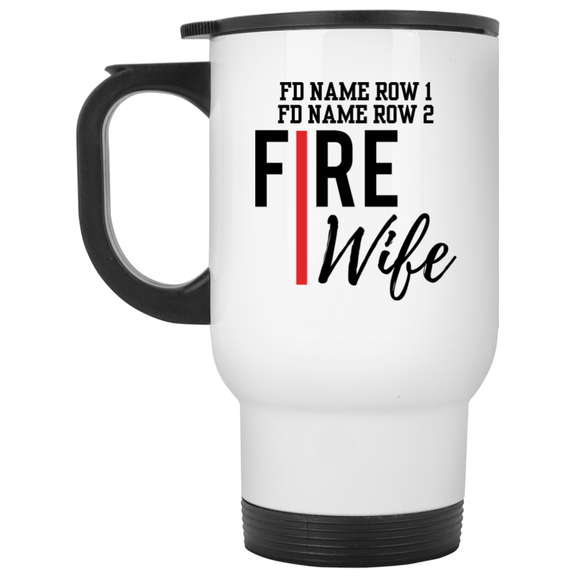 Personalized Fire Wife White Travel Mug