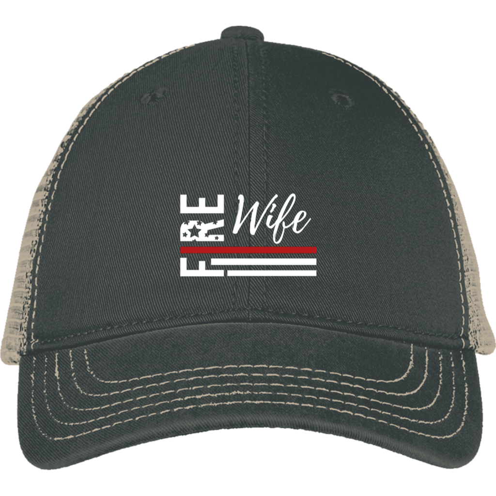 FIRE WIFE FLAG Embroidered District Mesh Back Cap