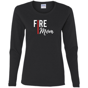 FIRE MOM Gildan Ladies' Cotton LS T-Shirt