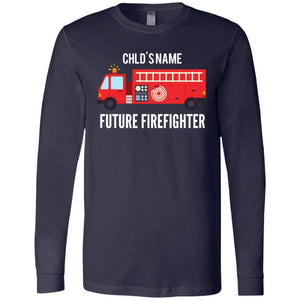 Personalized Future Firefighter (Men's Cut) LS T-Shirt by Bella + Canvas