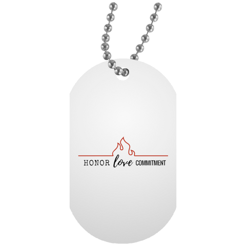 HONOR-LOVE-COMMIT White Dog Tag