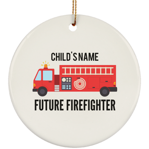Personalized Future Firefighter Ceramic Circle Ornament