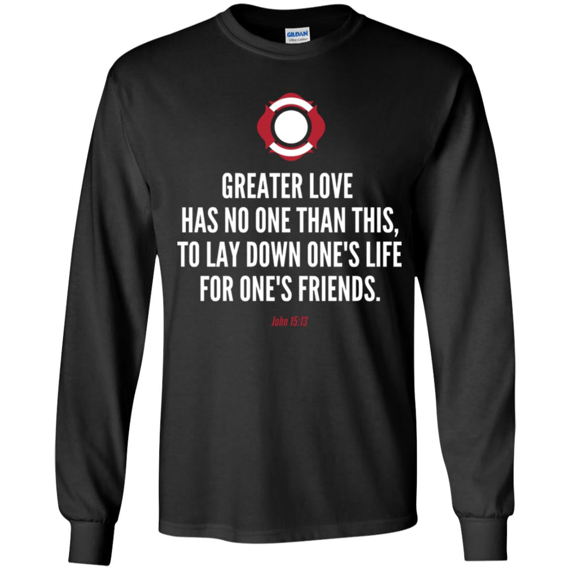 No Greater Love Verse Youth LS T-Shirt by Gildan