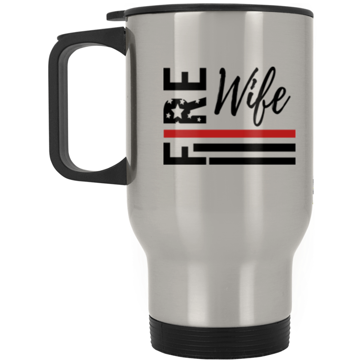 Fire Wife Flag Silver Stainless Travel Mug