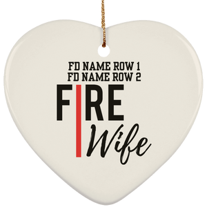 Personalized Fire Wife Ceramic Heart Ornament