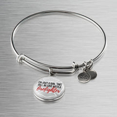 """I'm Just a Girl Who Fell in Love with a Firefighter"" Bangle Bracelet"