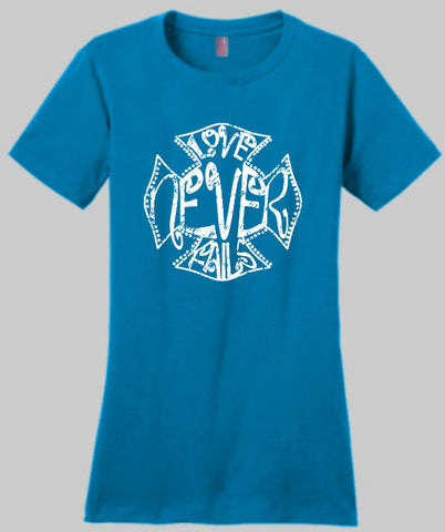 Love Never Fails Apparel - Ladies Premium Crew T