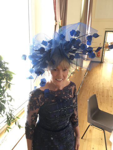 Nora Kearney wears custom-made Petal Shower in Navy