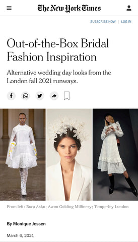 PRESS: Out-of-the-Box Bridal Fashion in the New York Times