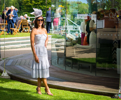 Lucy Verasamy wears Awon Golding Millinery at Goodwood