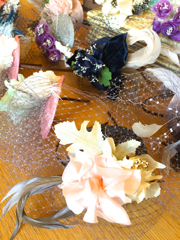 fascinators made from vintage flowers and veiling