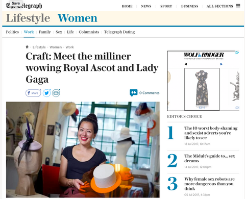 Awon Golding Millinery in the Telegraph
