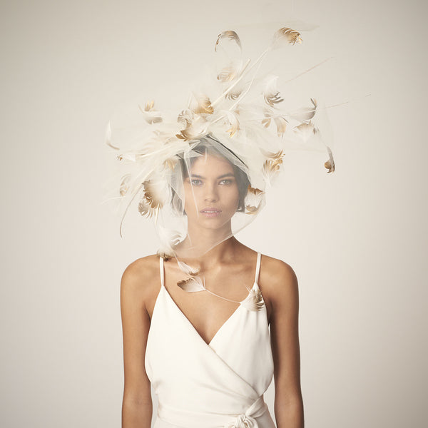 Dream Big Veil - Sculptural ivory tulle veil with gold ombre goose feathers