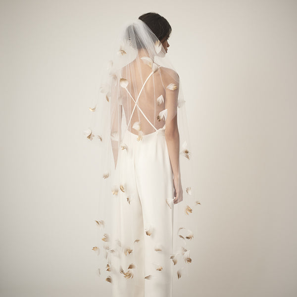 Cascade full-length tulle and gold ombre goose feather veil