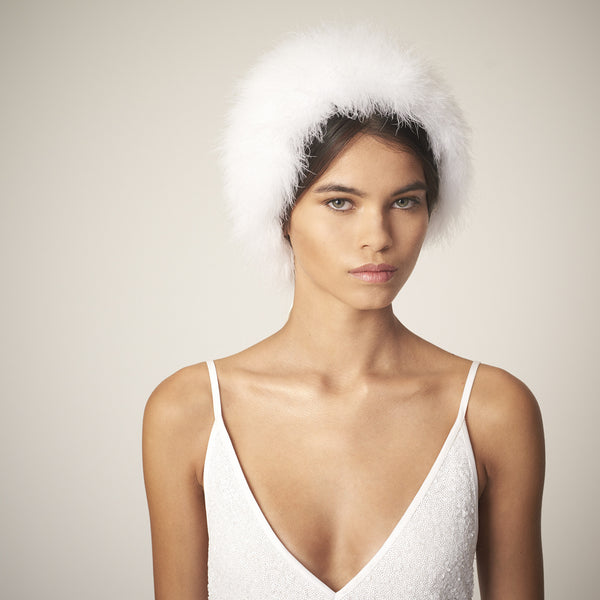 Sweet Dreams fluffy white headpiece with ribbon tie