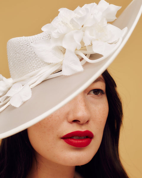 Ivory white straw and crinoline fedora with hand-made blossom trimming - Awon Golding Millinery