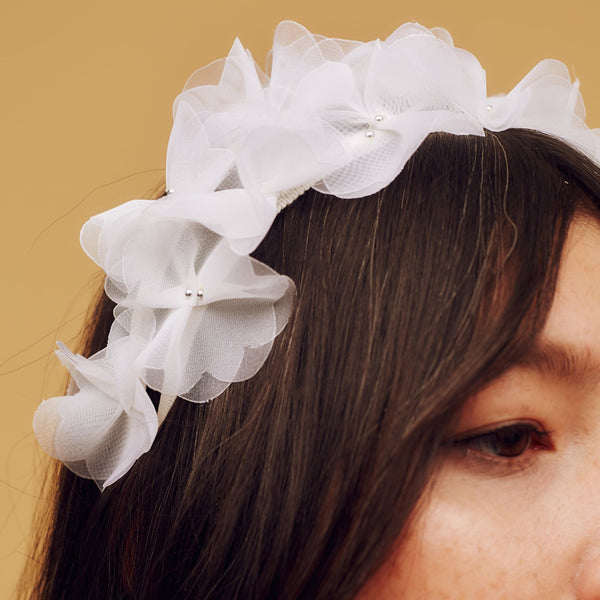 Ivory white ombre crinoline petal headband with metallic silver beaded centre - Awon Golding Millinery