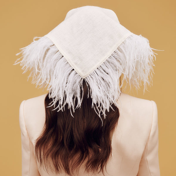 100% tasar silk headscarf with ostrich feather trim - Awon Golding Millinery