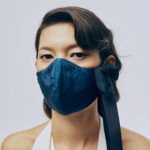 Silk Face Mask - Navy