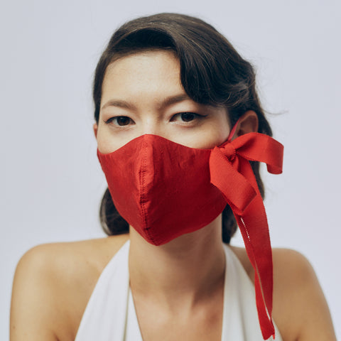 Silk Face Mask - Red