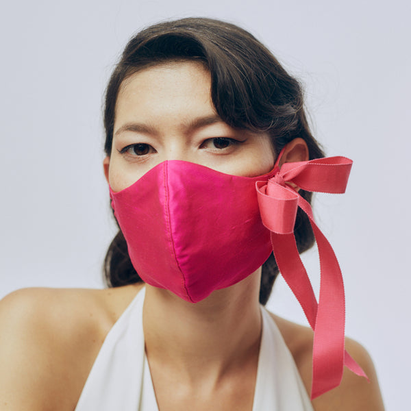 Silk Face Mask - Bright Pink