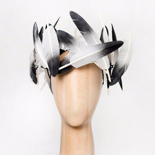 Hornbill - This statement feather crown is made from ombrė lacquered turkey feathers made to look like the majestic Hornbill.