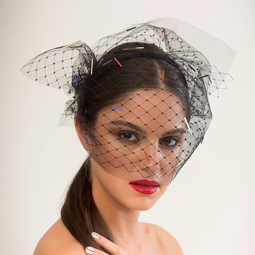 Hutton - Hand-beaded with 4 colours of bugle beads, this tulle and merry widow veil sits comfortably on an easy to wear headband.