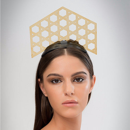 Shillong - Laser-cut polished brass tiara on black leather base & headband.