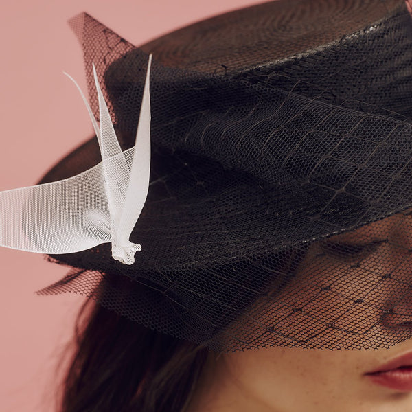 Black buntal straw boater with tulle and net veiling and hand-made ivory ombre crinoline birds. - Awon Golding Millinery