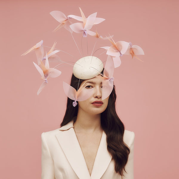 Natural parasisal straw beret hat with flock of hand-made ombre crinoline birds - Awon Golding Millinery