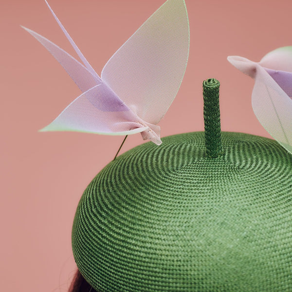 Green parasisal straw beret hat with two hand-made ombre crinoline bird hat pins - Awon Golding Millinery