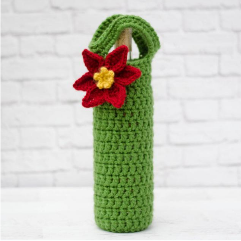 Poinsettia Wine Cozy Pattern