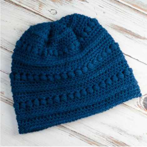 Blueberry Bead Stitch Beanie Pattern