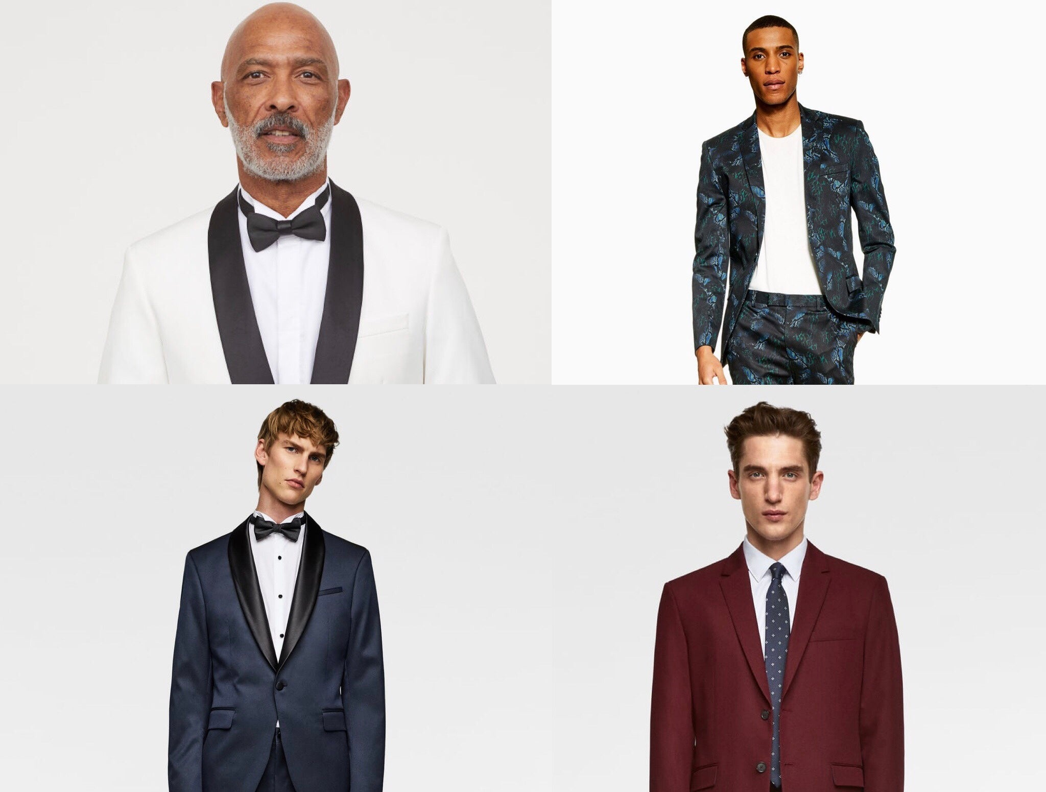 4 images of male models in various tuxedos throughout the article
