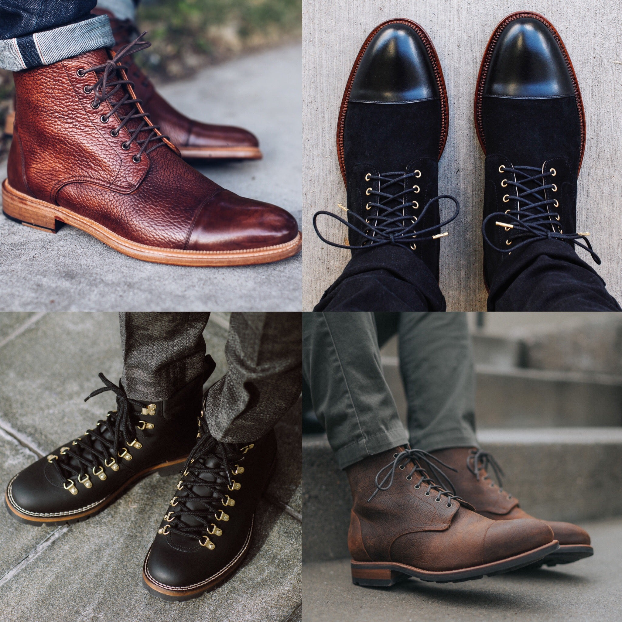 image of four boots: rome brown, troy black, viking midnight, dragon rust