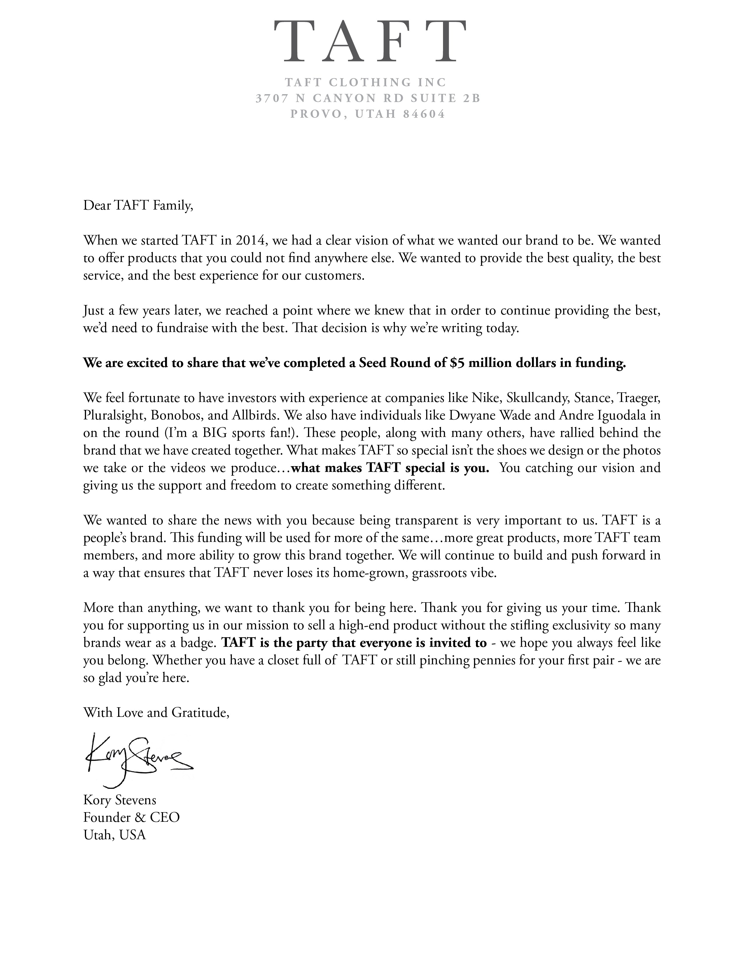 letter from the founder of TAFT announcing a 5 million dollar fundraise