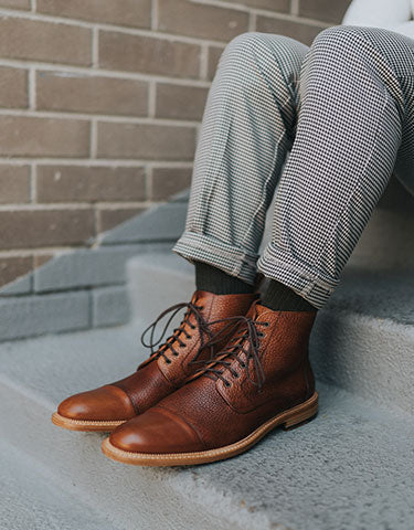 rome boot in brown on model