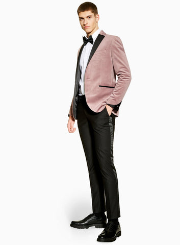 male model in tuxedo (pink jacket + black pants)