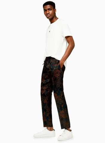 brown muted floral drawstring pants