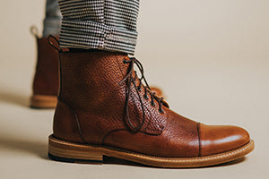 The Rome Boot in Brown on model