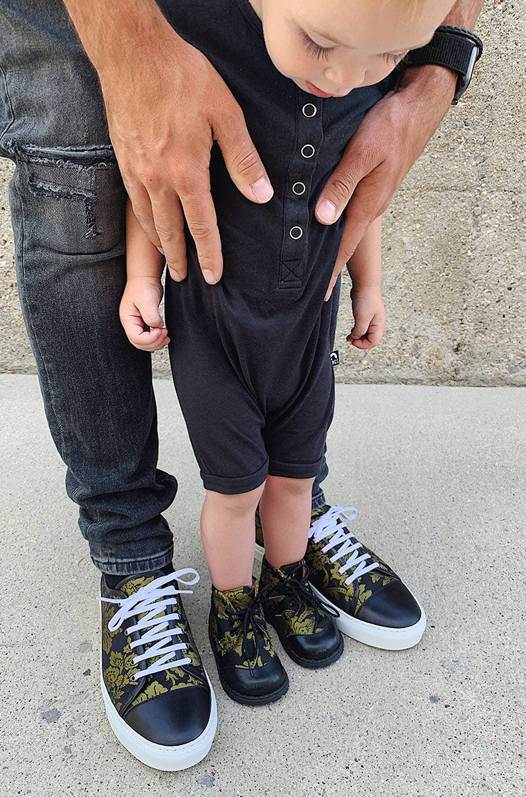baby oliver in baby taft boots with dad in taft sneakers
