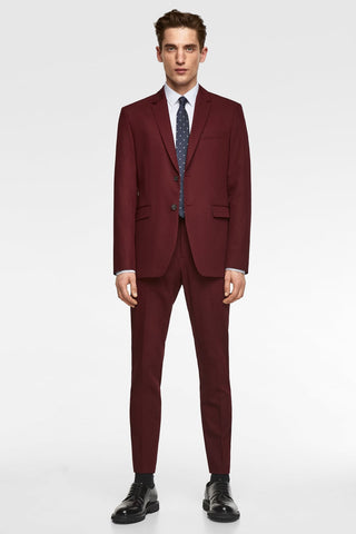 Male model in burgundy suit