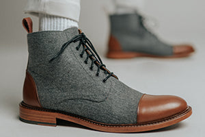 The Jack Boot in Grey/Brown on model