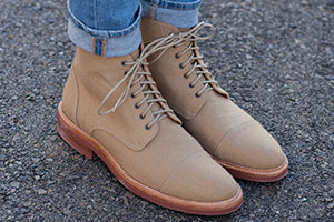 The Jaro Boot in Khaki on model