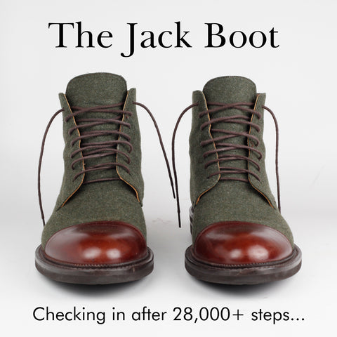"image of jack boots with text ""checking in after 28k steps"""