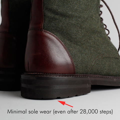 "heel of boot with text ""minimal sole wear (even after 28k steps)"