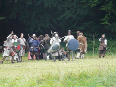 larpers dressed in armor standing in field