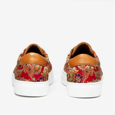 The Sneaker in Red Paisley Heels