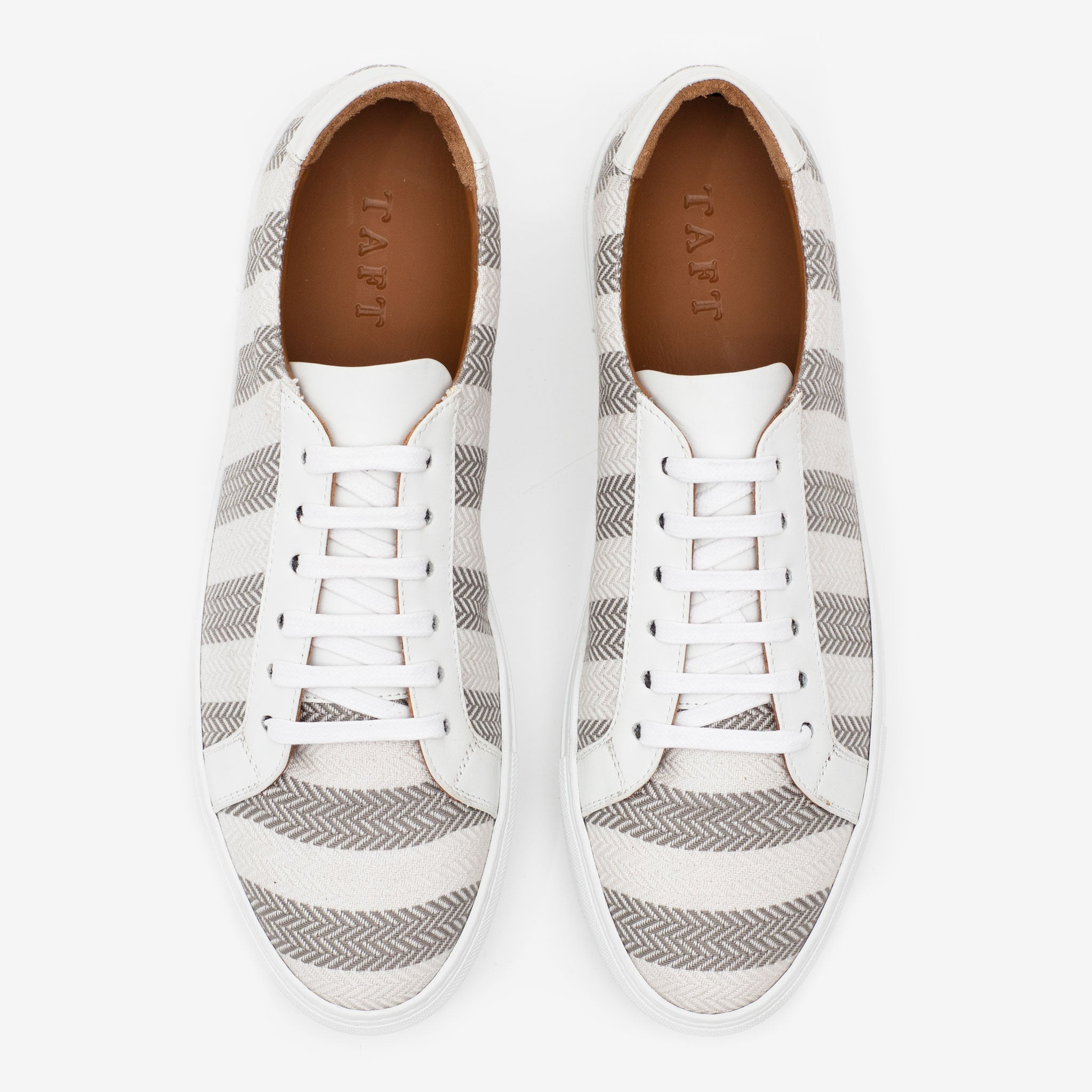 The Sneaker in Grey Stripes Overhead